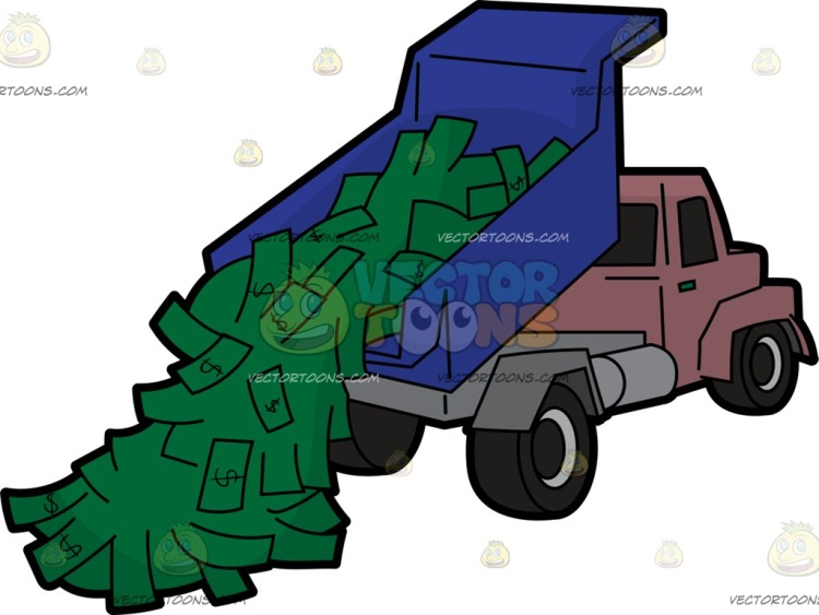A truck dumping a load of money